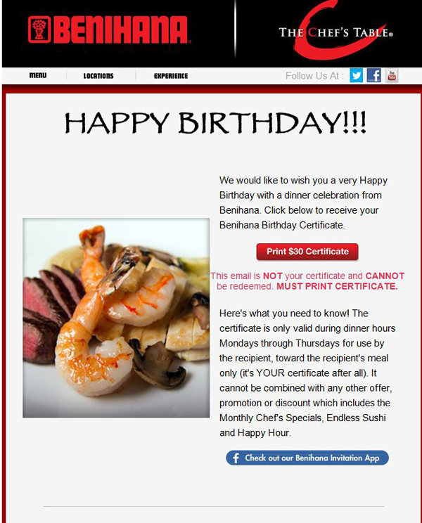 2013 Holiday Email Marketing Checklist – Sample Happy Birthday Email