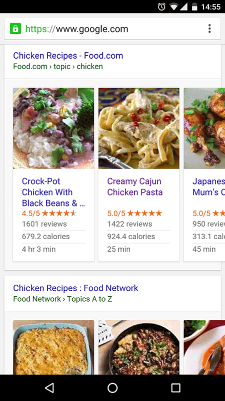 Google Search Carousel Mobile